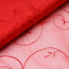 "Shimmering Organza with Satin Embroidery Fabric Bolt - Red- 54"" x 10Yards"