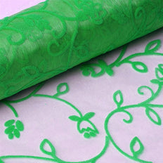 12 Inch x 10 Yards | Hunter Emerald Green Velvet Embroidery on Organza Fabric Bolt