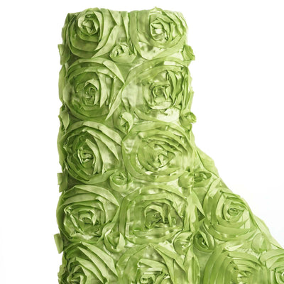 "54"" X 4 Yards Apple Green Satin Rosette Fabric by the Roll"