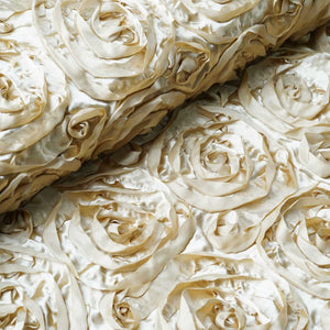 "54"" X 4 Yards Champagne Satin Rosette Fabric by the Yard"