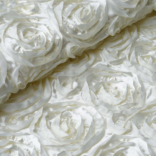 "54"" X 4 Yards Ivory Satin Rosette Fabric by the Roll"