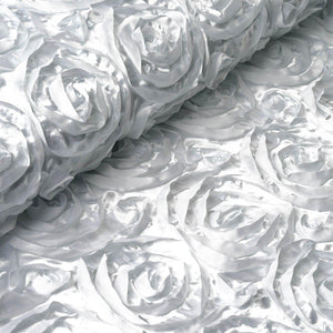 "54"" X 4 Yards White Satin Rosette Fabric by the Roll"