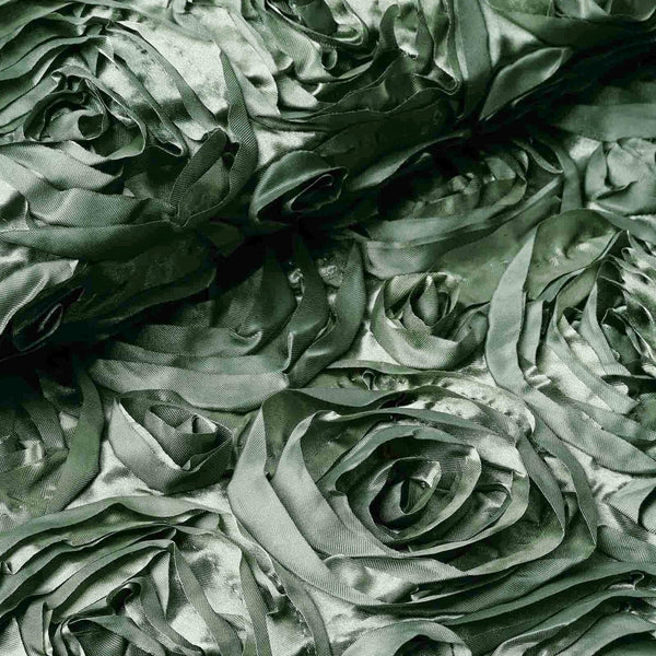 "54"" X 4 Yards Moss Green Satin Rosette Fabric by the Roll"