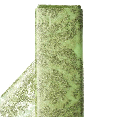 "Glittered Damsak Flocking Organza Wedding Dress Fabric Bolt - Apple Green - 54"" x 10 Yards"