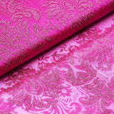 "Glittered Damsak Flocking Organza Wedding Dress Fabric Bolt - Fushia - 54"" x 10 Yards"