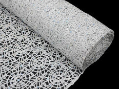 "Sequin Studded Lace Fabric Bolt - Silver 54"" x 10yards"