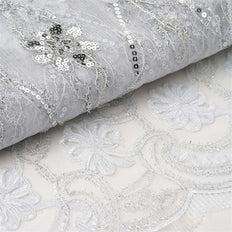 "Fashionable Wedding Party Lace Embroidered Fabric Bolt By Yard - White - 54""x4 Yards"