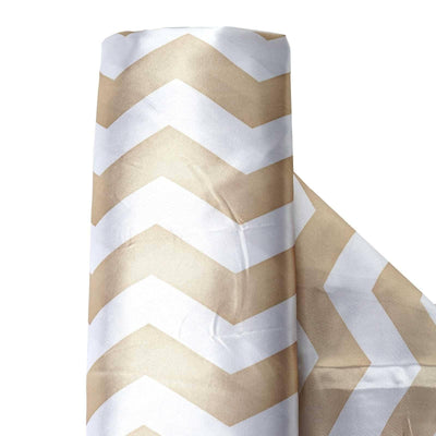 "Chevron Satin Designer Wedding Party Fabric Bolt By Yard - White / Champagne - 54"" x 10yards"