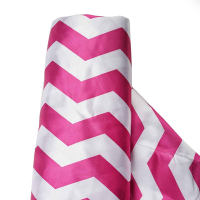 "Chevron Satin Designer Wedding Party Fabric Bolt By Yard - White / Fushia - 54"" x 10yards"