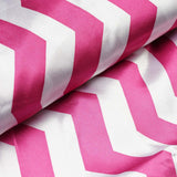 "54"" x 10 Yards Fushia/White Printed Satin Zig Zag Pattern Chevron Fabric by the Yard"
