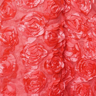 54 Inch x 4 Yards | Rosette Satin Lace Fabric | Coral Bolt | TableclothsFactory