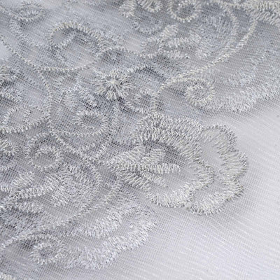 "Wedding Bridal Dress Silver Embroidered Tulle with Silver Interlaced Thread Fabric Bolt - Silver - 54"" x 4 Yards"