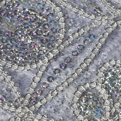 "54"" x 4 Yards Silver Psychedelic Design Beaded Sequin Fabric Bolt"