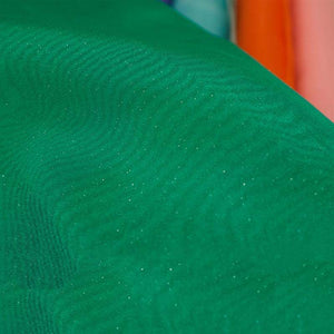 "54"" x 10 Yards Emerald Sheer Organza With Glitters Fabric Bolt"