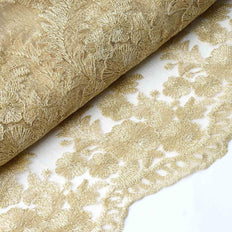"54"" x 4 Yards Champagne Embroidered Tulle Fabric - Sheer Drapes"
