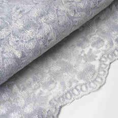54 Inch x 4 Yards | Embroidered Lace Fabric | Silver Yard | TableclothsFactory