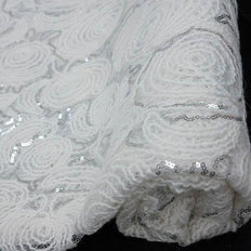 "54"" x 4 Yards White/Silver Lace Knitting Patterns Sequined Tulle Fabric by the Roll"