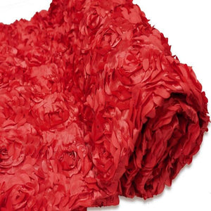 "RED Wholesale Flower Rosette 3D Satin Fabric Bolt By Yard Wedding Event Party Decoration - 54""x4 Yards"