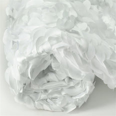 "WHITE Wholesale Flower Rosette 3D Satin Fabric Bolt By Yard Wedding Event Party Decoration - 54""x4 Yards"