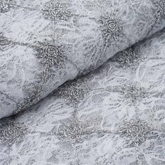 54 Inch x 4 Yards | Flora Y Sol Lace Fabric | Silver/White Bolt | TableclothsFactory
