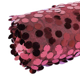 54 inch x 4Yards | Burgundy Payette Sequin Fabric Roll with Mesh Fabric Base