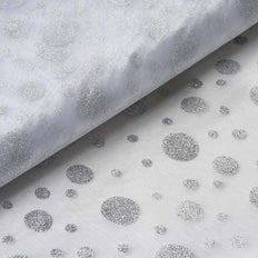 "Princess Glitter Dots Organza 54""x10Yards - Silver"
