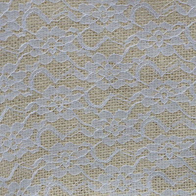 "Floral Lace Stitched Burlap Fabric Bolt 54"" x 4yds - Natural"