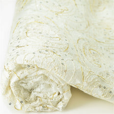 54 Inch x 4 Yards | White Lace Fabric Bolt | Floral Constellation Lace Fabric | TableclothsFactory
