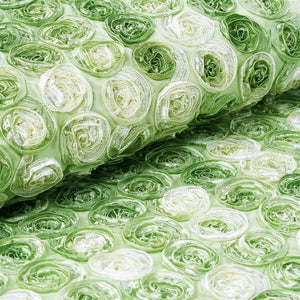 "Grandiose Mini Rosette Multi Shade Fabric Bolt For Wedding Party Event Decoration - Apple Green - 54""x4 Yards"