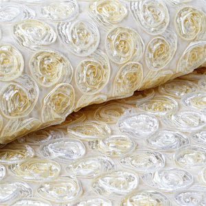 "Grandiose Mini Rosette Multi Shade Fabric Bolt For Wedding Party Event Decoration - Ivory - 54""x4 Yards"
