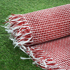 54 inch x 4 Yards | Red/White Eco-Friendly Woven Upholstery Raffia Fabric By the Roll