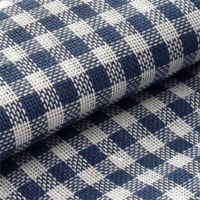 "54"" x 4 Yards Navy/White Eco-Friendly Woven Upholstery Raffia Fabric By the Yard"