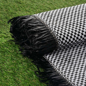 "54"" x 4 Yards Black/White Eco-Friendly Woven Upholstery Raffia Fabric By the Yard"