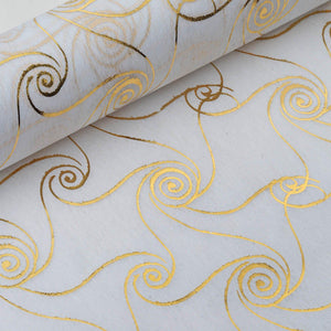 "Glossy Party Event Craft Non-Woven Metallic Design Fabric Bolt - Gold/White - 19""x10Yards"