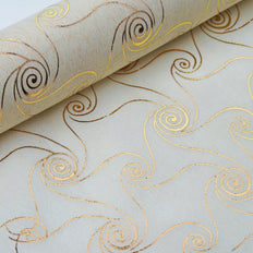 "Glossy Party Event Craft Non-Woven Metallic Design Fabric Bolt - Gold/Ivory - 19""x10Yards"