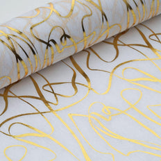 "Glossy Party Event Craft Non-Woven Wave Line Design Fabric Bolt - Gold/White - 19""x10Yards"