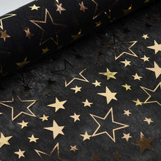 "Glossy Party Event Craft Non-Woven Star Design Fabric Bolt - Gold/Black- 19""x10Yards"