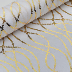 "Glossy Party Event Craft Non-Woven Chain Design Fabric Bolt - Gold/White- 19""x10Yards"