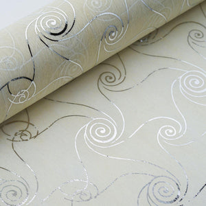 "Glossy Party Event Craft Non-Woven Delicate Art Design Fabric Bolt -Silver/Ivory- 19""x10Yards"