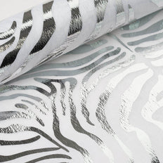 "Glossy Party Event Craft Non-Woven Tiger Print Design Fabric Bolt -Silver/White- 19""x10Yards"