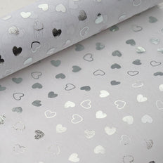 "Glossy Party Event Craft Non-Woven Heart Shower Design Fabric Bolt -White/Silver- 19""x10Yards"