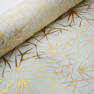 "Glossy Party Event Craft Non-Woven Grass Design Fabric Bolt -Gold/Ivory- 19""x10Yards"