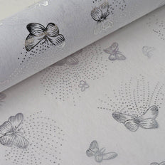 "Glossy Party Event Craft Non-Woven Flying Butterfly Art Design Fabric Bolt -Silver/White- 19""x10Yards"