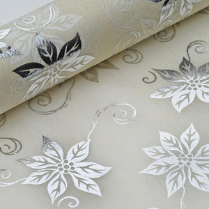 "Glossy Party Event Craft Non-Woven Big Flower Design Fabric Bolt -Silver/Ivory- 19""x10Yards"