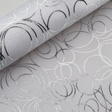 "Glossy Party Event Craft Non-Woven Modern Art Design Fabric Bolt -Silver/White- 19""x10Yards"