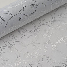 Glossy Party Event Craft Non-Woven Classic Art Design Fabric Bolt -Silver/White- 19
