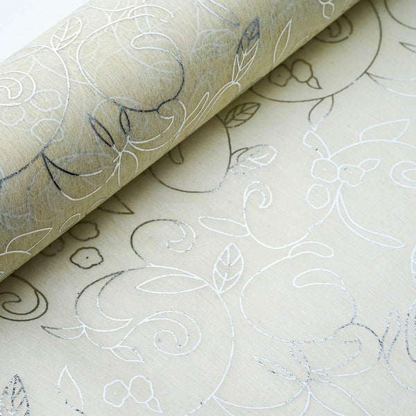 "19"" x 10 Yards Silver/Ivory Classic Art Design Non Woven Polyester Fabric Bolt - Clearance SALE"