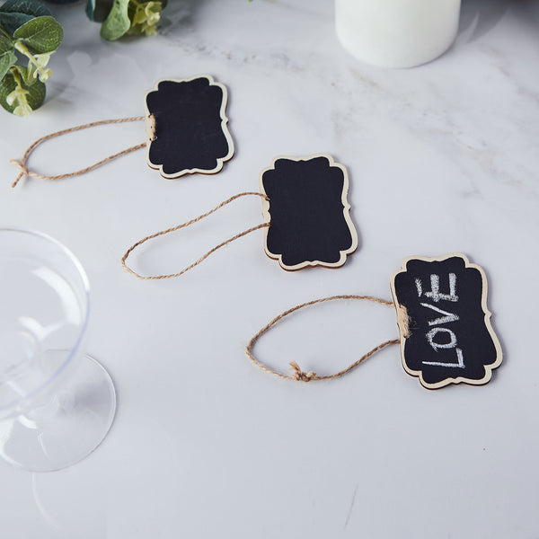 10 Packs | Mini Erasable Wooden Chalkboard Signs With Hanging Twine and Chalks