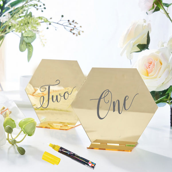 "5 Pack | 5"" Gold Acrylic Wedding Table Number Stands, Hexagon Table Sign Holders"