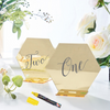 5 Pack | 5 inch Gold Acrylic Wedding Table Number Stands, Hexagon Table Sign Holders